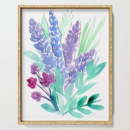 Lavender Floral Watercolor Bouquet Serving Tray