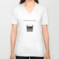 typewriter V-neck T-shirts featuring typewriter by VALENTINA MAGRO