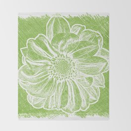 White Flower On Lime Green Crayon Throw Blanket