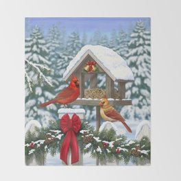 Red Cardinals and Christmas Bird Feeder Throw Blanket