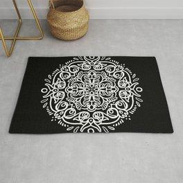 Looping Black and White Mandala Rug