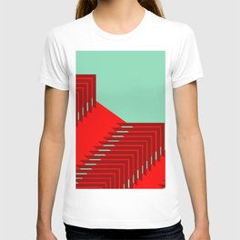 Line pattern, zigzagging with red and green T-shirt