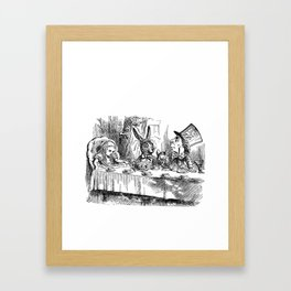 Vintage Alice in Wonderland Mad Hatter & rabbit tea party antique goth emo book gothic drawing print Framed Art Print