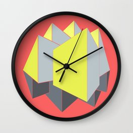 Abstract yellow and gray blocks in 2-point perspective Wall Clock