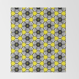 Yellow and Black Flowers Throw Blanket