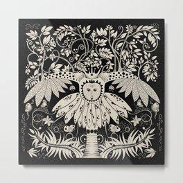 Owl king in black & white Metal Print