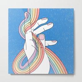 Rainbow in my hand Metal Print