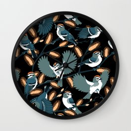 Golden-crowned Kinglets in a Pussy Willow (Night) Wall Clock