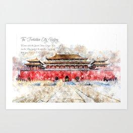Forbidden City, Beijing, Watercolor Art Print