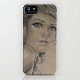 Girl with headphones iPhone Case