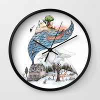 camus Wall Clocks featuring Invincible Summer by Brooke Weeber