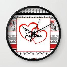 just Married Hearts white pattern II Wall Clock