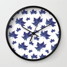 Blue leaves Wall Clock