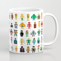 heroes Mugs featuring Pixel Heroes by Pahito