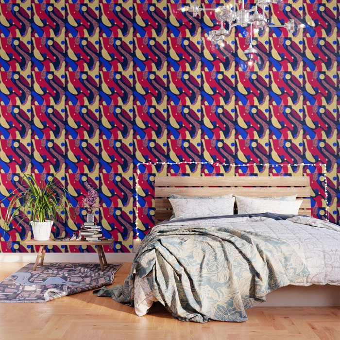 Psychedelic terrazzo galaxy blue night gold red Wallpaper