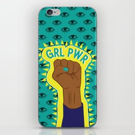 Girl Power Fist on Eye Pattern Background iPhone Skin