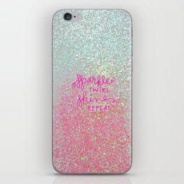 Sparkle Twirl Shine Repeat - White / Pink Sparkle iPhone Skin