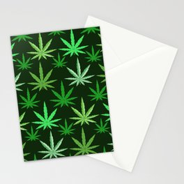 Marijuana Green Leaves Weed Stationery Cards