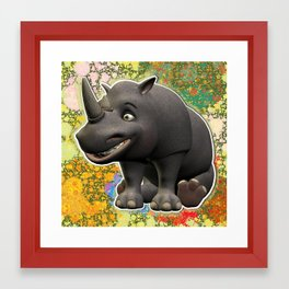 Grinning Sitting Adult Rhino Framed Art Print
