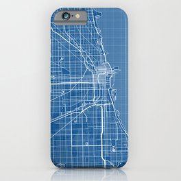 Chicago City Map of the United States - Blueprint iPhone Case