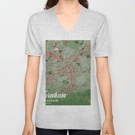 Farnham - United Kingdom Christmas Color City Map Unisex V-Neck