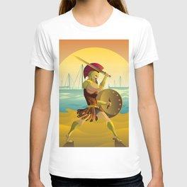 trojan warrior in beach near trireme greek ships T-shirt