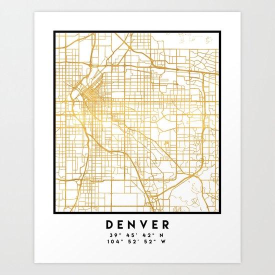 DENVER COLORADO CITY STREET MAP ART Art Print by deificusart   Society6