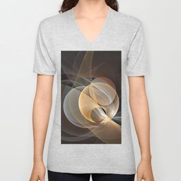 Brown, Beige And Gray Abstract Fractals Art Unisex V-Neck
