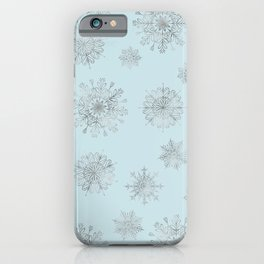 Assorted Silver Snowflakes On Light Blue Background iPhone Case