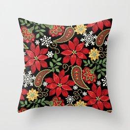 Christmas Poinsettia Paisley Throw Pillow