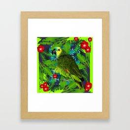 RED HIBISCUS & GREEN PARROT JUNGLE GRAY-GREEN ART Framed Art Print