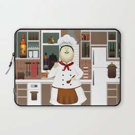 Funny Chef in a Big Hat in the Kitchen Laptop Sleeve