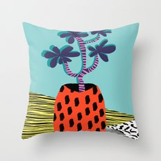 Spazzing - throwback house plant retro 1980s style memphis design neon art pop art print dorm room h Throw Pillow