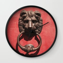 Red Door with Lion head  Wall Clock