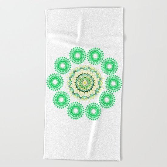 Anahata Flower Mandala Beach Towel