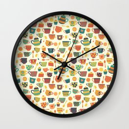 Vintage tea party - tea cups and sweets beige Wall Clock