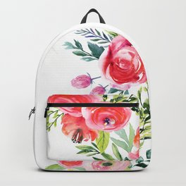 White Rat with Flowers Watercolor Floral Pattern Animal Backpack