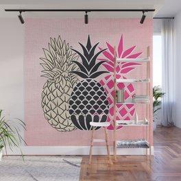 Pineapple in Pink , tropical , hawaii , summer , fruit , pineapple print , pineapple design Wall Mural