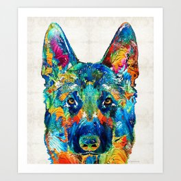 Colorful German Shepherd Dog Art By Sharon Cummings Art Print