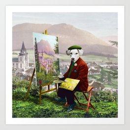 Sir Langford Labrador While Plein Air Painting Art Print