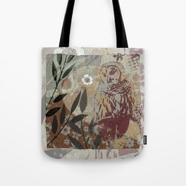 Graphic Barred Owl Nature Collage Art Tote Bag
