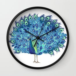 Peacock - Green and BLUE Wall Clock