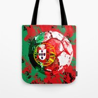 portugal Tote Bags featuring football Portugal  by seb mcnulty
