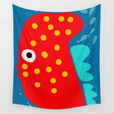 Red Fish illustration for kids Wall Tapestry