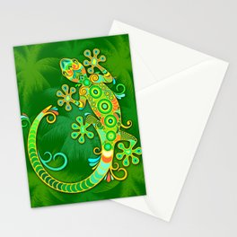 Gecko Lizard Colorful Tattoo Style Stationery Cards