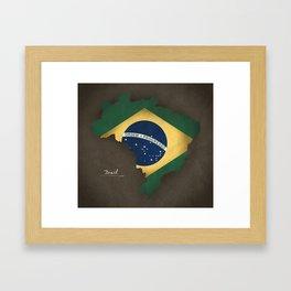 Brazil map special vintage artwork style with flag illustration Framed Art Print
