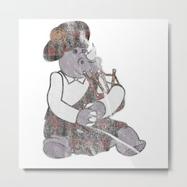 Rhinoceros Playing Bagpipes Instrument Metal Print
