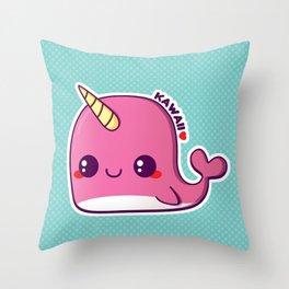 Kawaii Pink Narwhal Throw Pillow