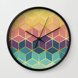 Pattern of squares with gold IV Wall Clock