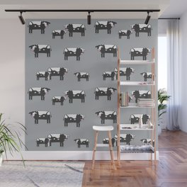 Cow farm minimal pattern animals nursery kids cattle design gifts grey Wall Mural